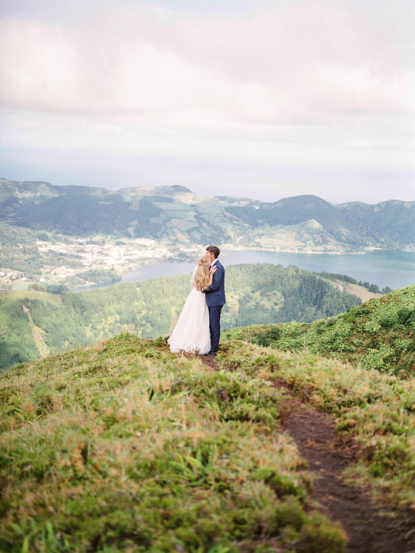 Bride and Groom wedding photograph overseeing Lagoa das Sete Cidades, Azores, Portugal, by Portugal Wedding Photographer