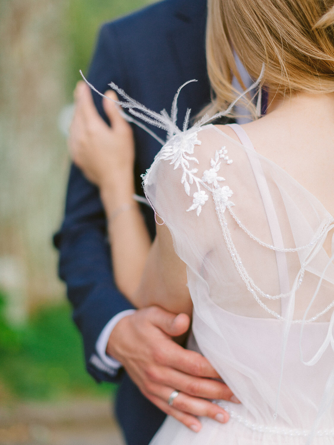 Beautiful wedding dress embroidered shoulder detail by Portugal Wedding Photographer