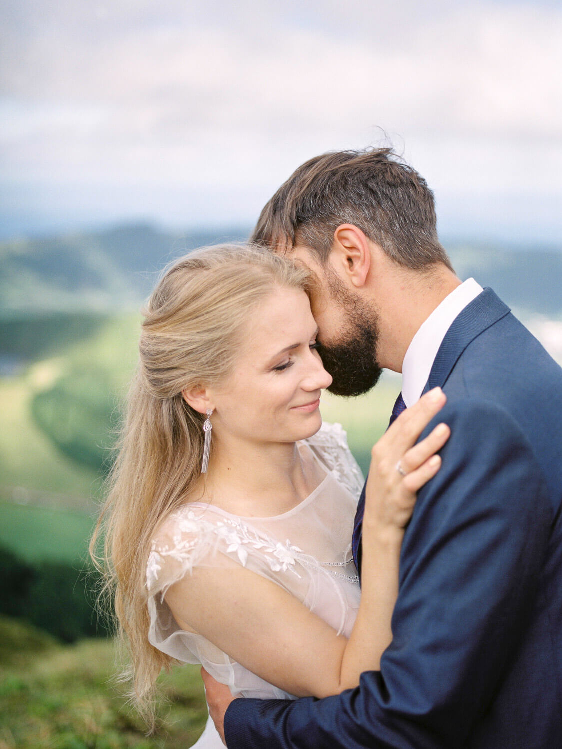 Passionate couple holding tight during wedding photography session in Azores by Portugal Wedding Phtographer