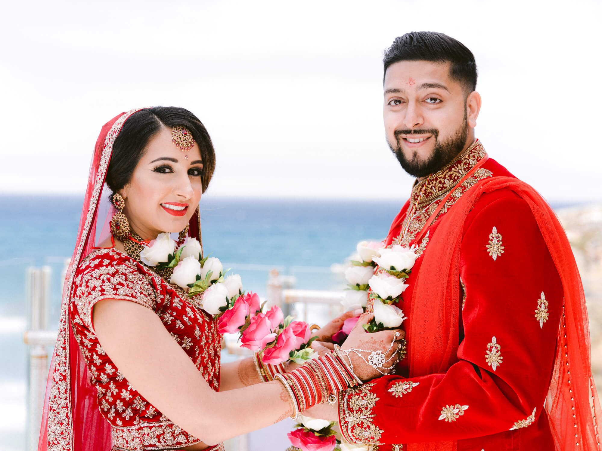 beautiful Indian newlyweds portrait by Portugal Wedding Photographer