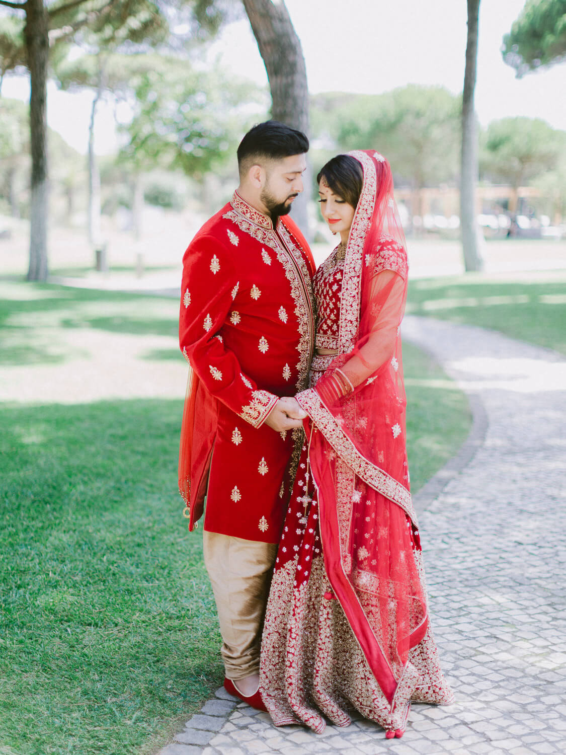 Romantic Hindu bride and groom portrait by Portugal Wedding Photographer