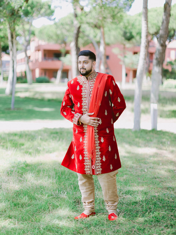Hindu groom on his destination wedding in Portugal by Portugal Wedding Photographer