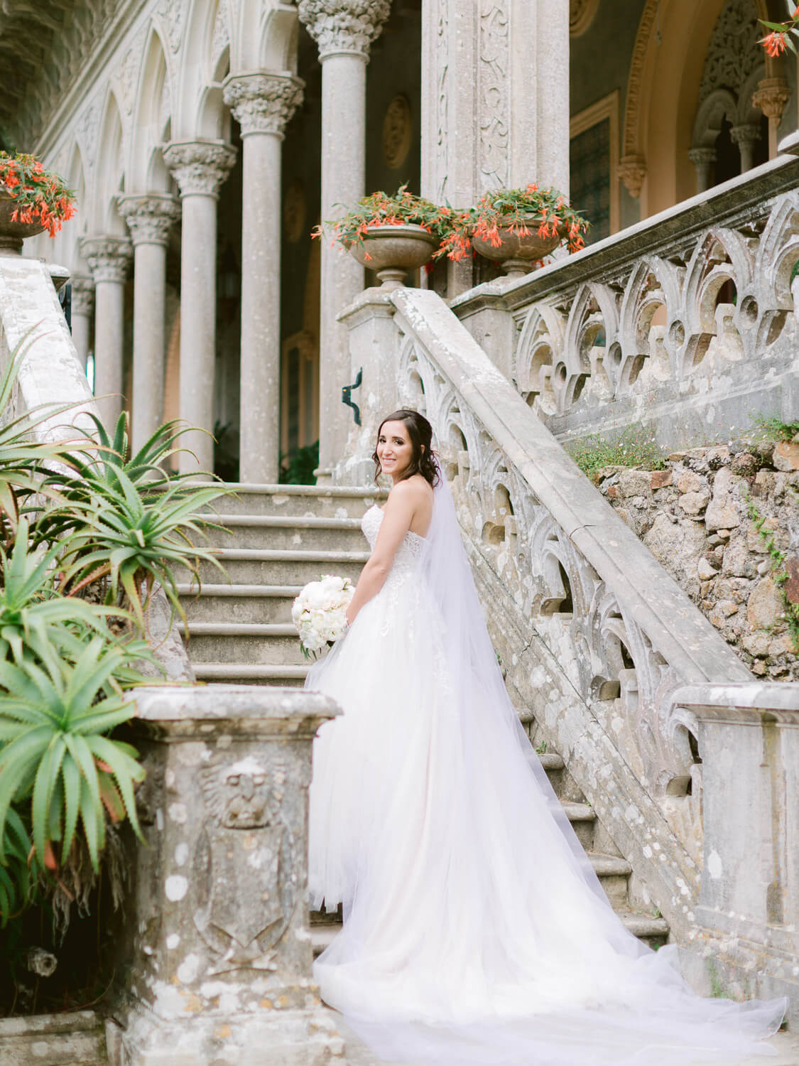 Beautiful Bride with long train at Monserrate Palace by Portugal Wedding Photographer