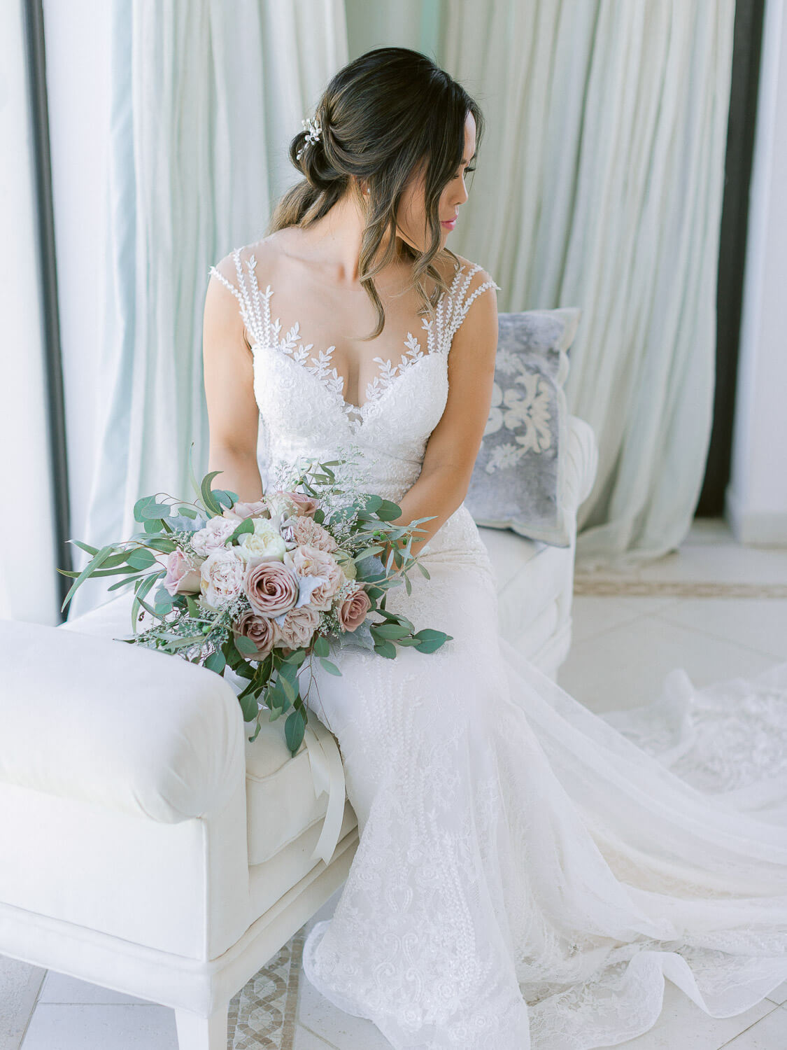 a sweet portrait of a bride and bouquet at her destination wedding in the Algarve by Portugal Wedding Photographer
