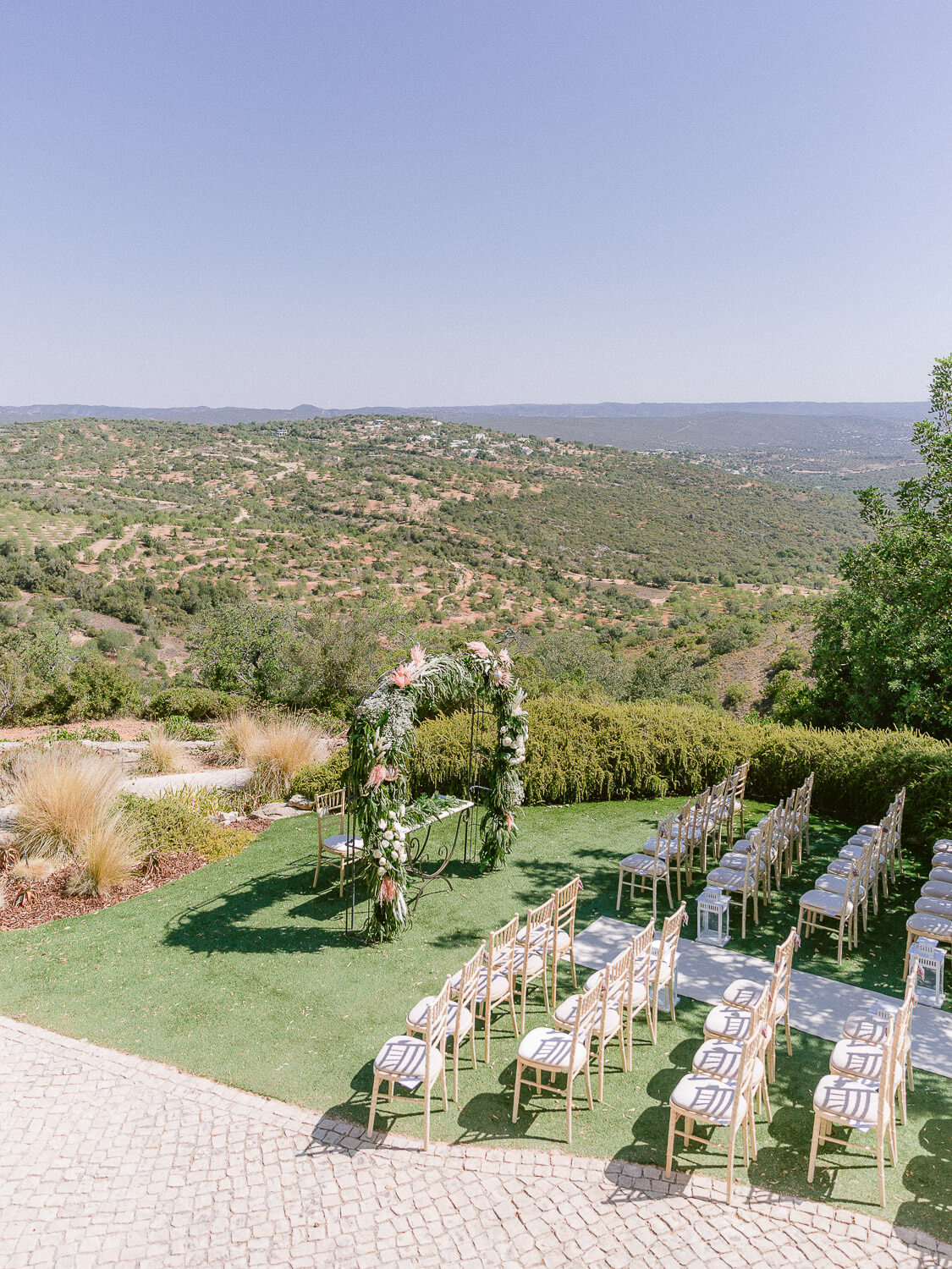 Wedding ceremony setting for a destination wedding in the Algarve by Portugal Wedding Photographer