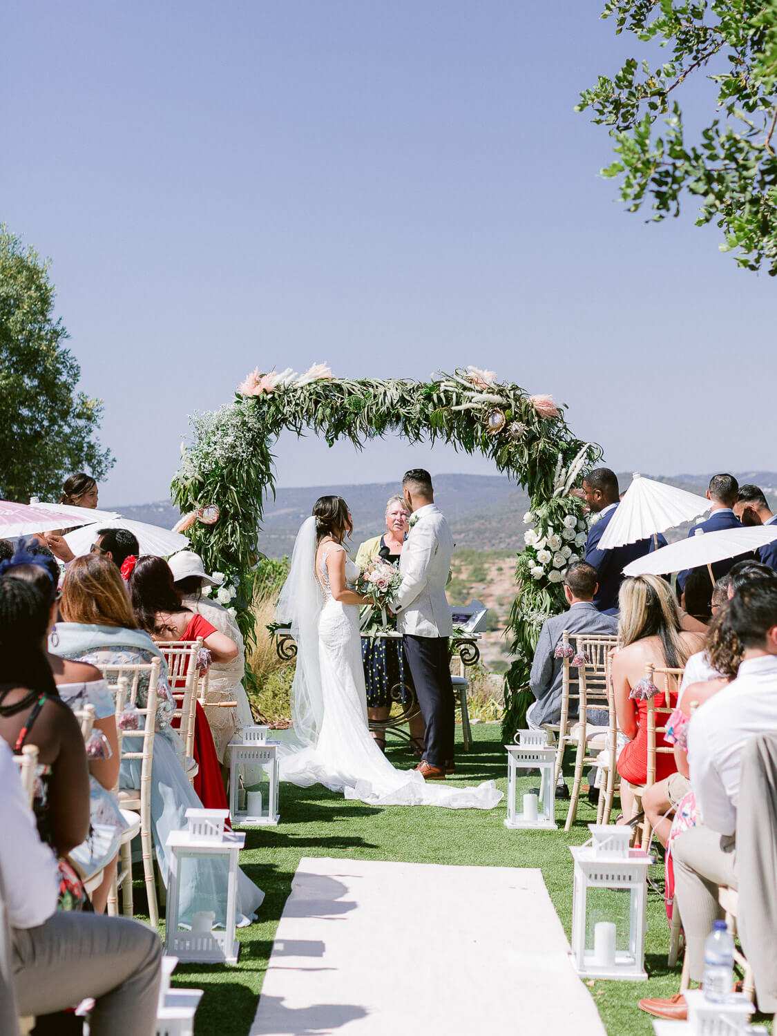 outdoor wedding ceremony in the Algarve by Portugal Wedding Photographer