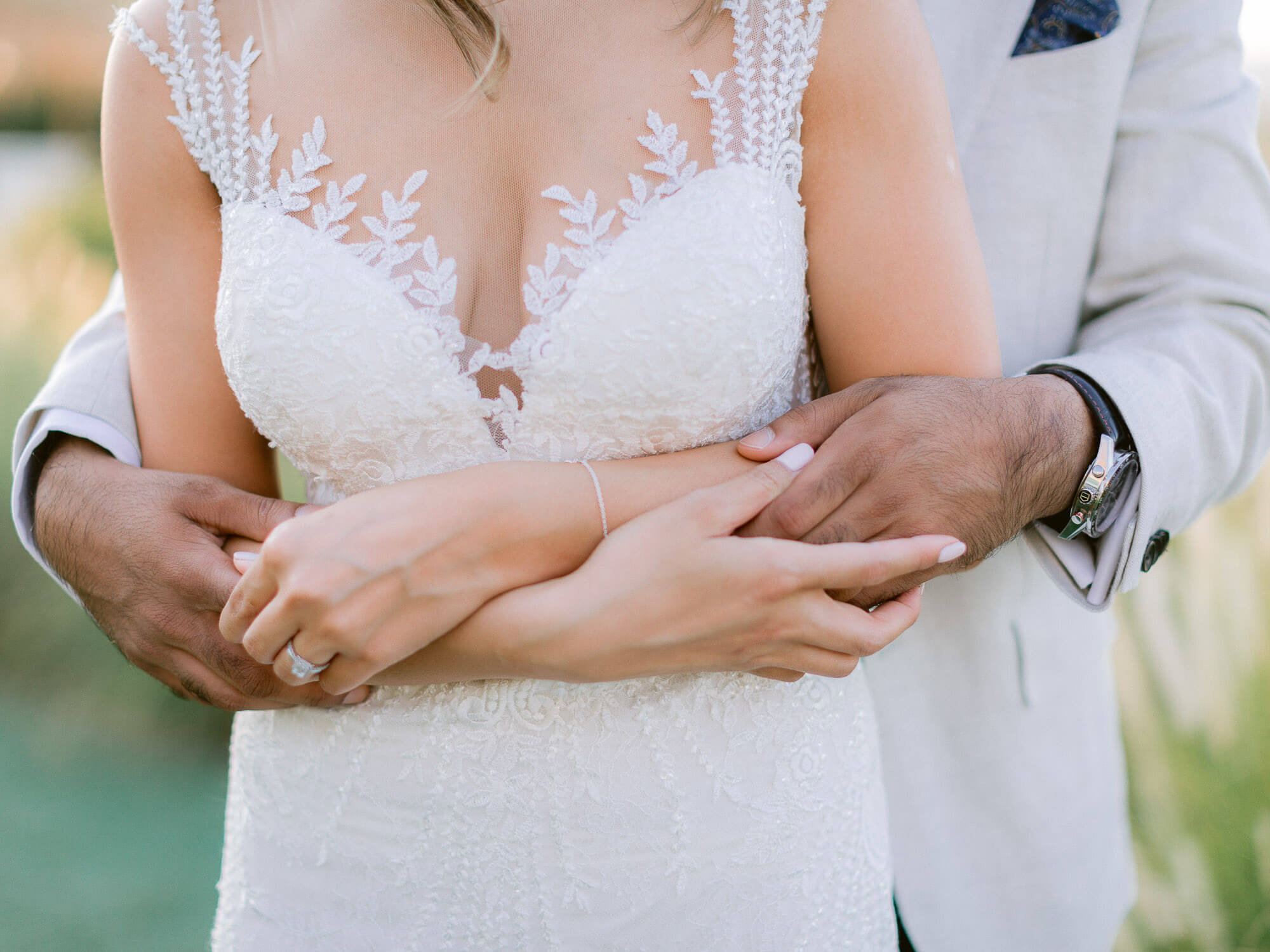 bride and groom embrace close-up at a destination wedding in the Algarve by Portugal Wedding Photographer