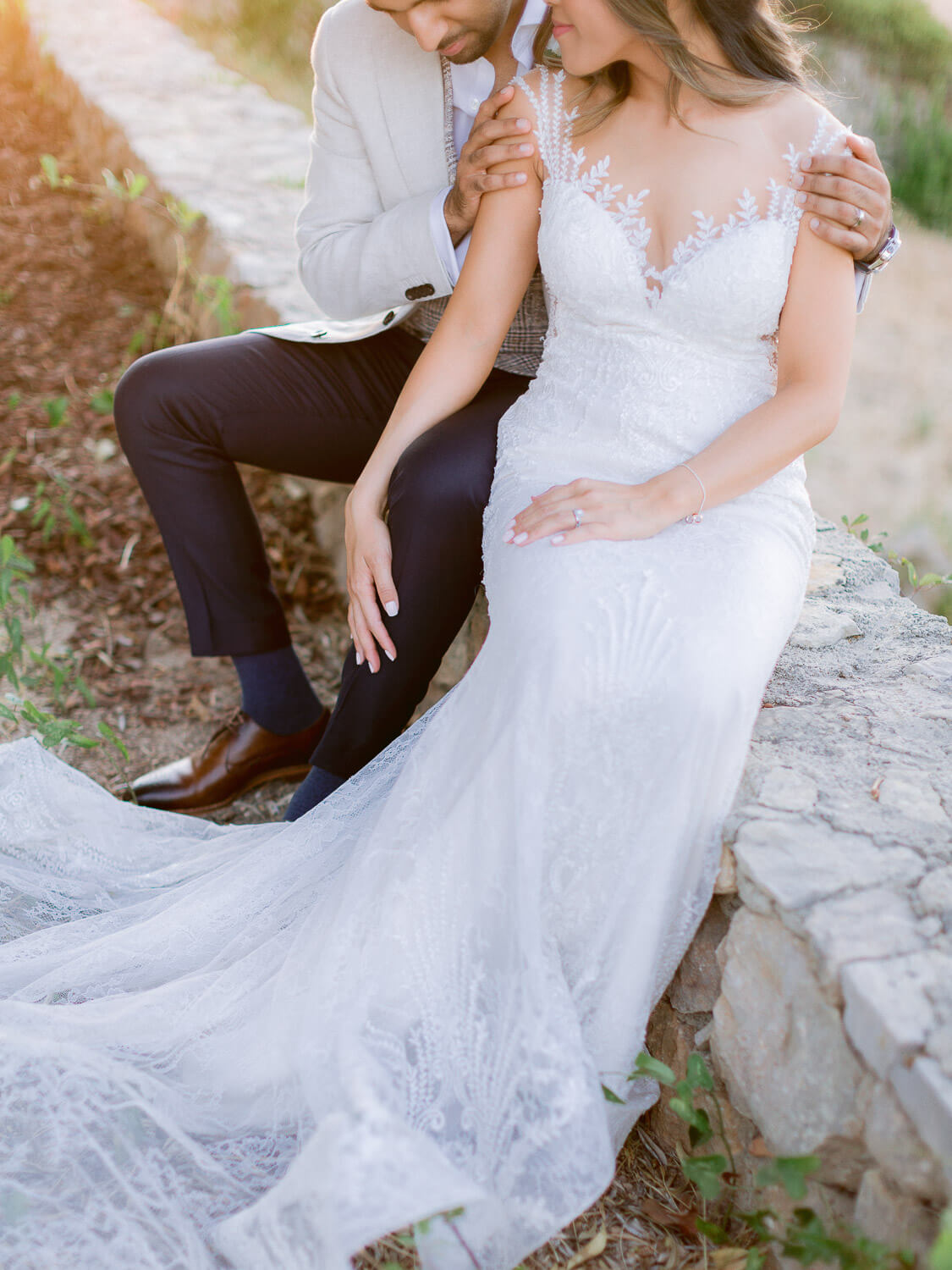 bride and groom's romantic portrait at a destination wedding in the Algarve by Portugal Wedding Photographer