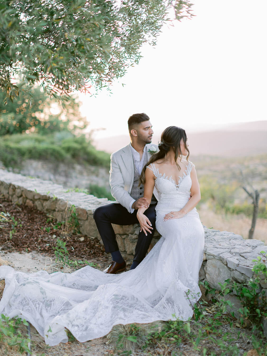 bride and groom's idyllic portrait at a destination wedding in the Algarve by Portugal Wedding Photographer