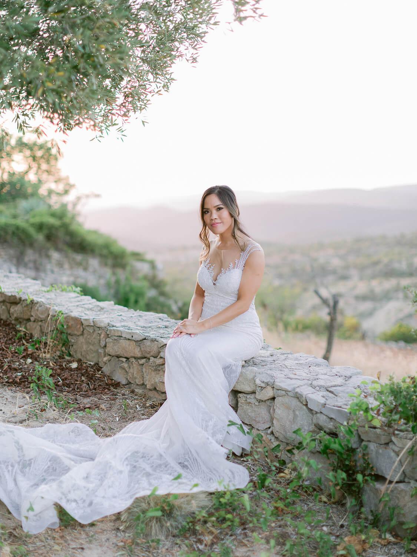 bride's idyllic portrait at a destination wedding in the Algarve by Portugal Wedding Photographer