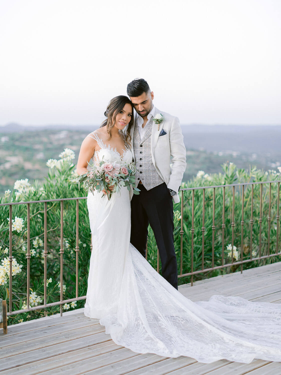 bride and groom's sweet portrait at a destination wedding in the Algarve by Portugal Wedding Photographer