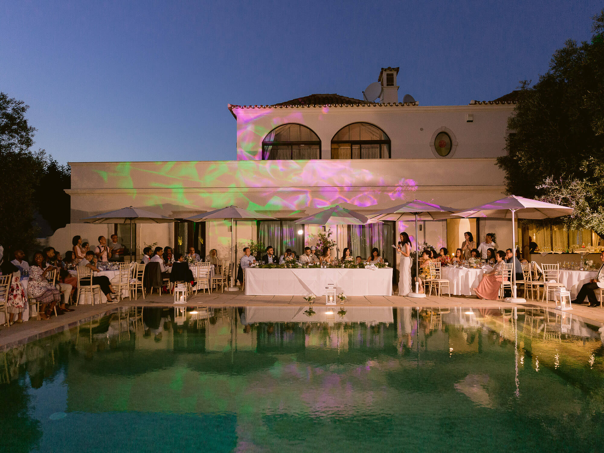 outdoor reception night overview at a destination wedding in the Algarve by Portugal Wedding Photographer