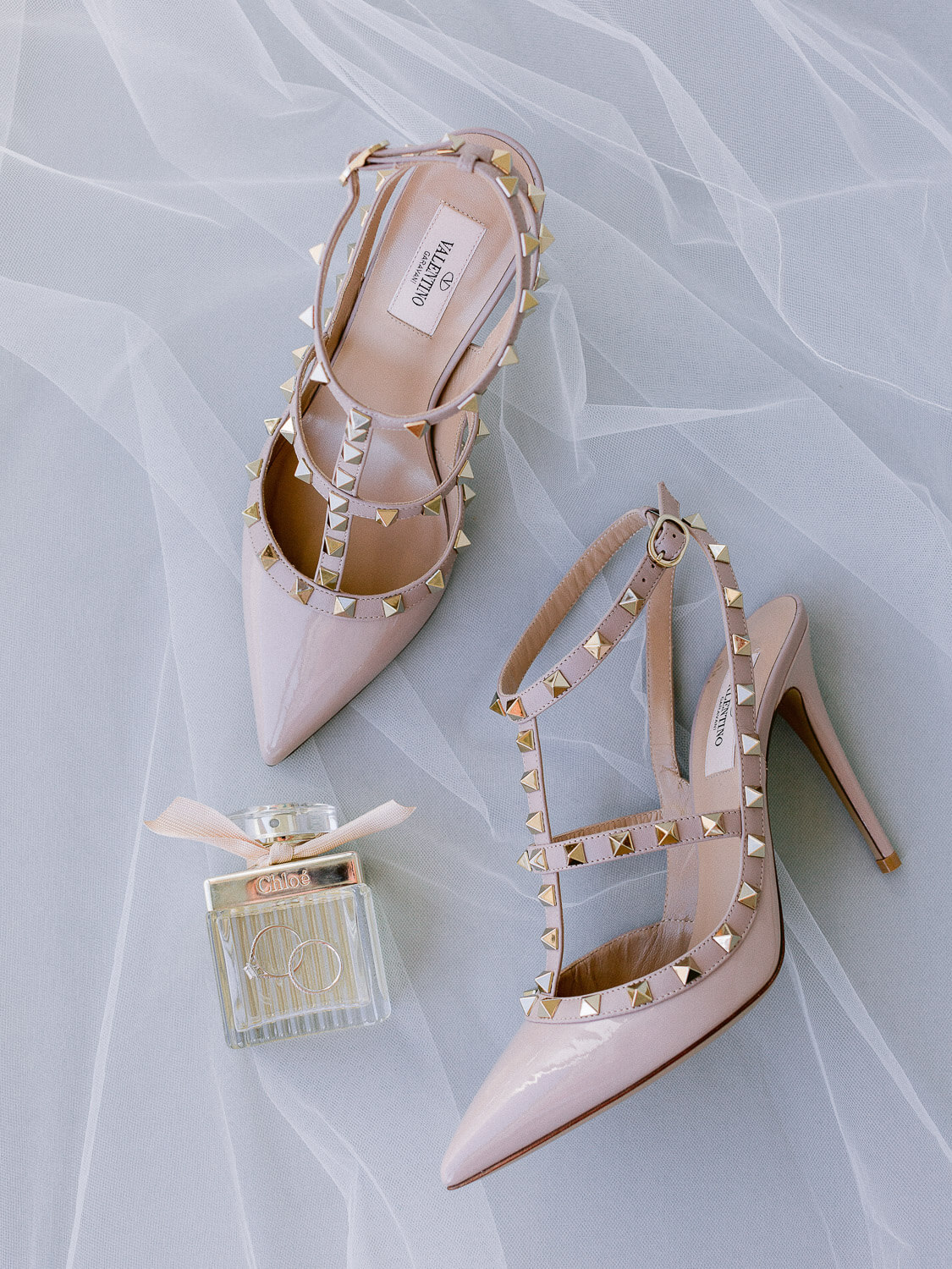 Valentino rockstud pumps in Poudre close-up for a destination wedding in the Algarve by Portugal Wedding Photographer