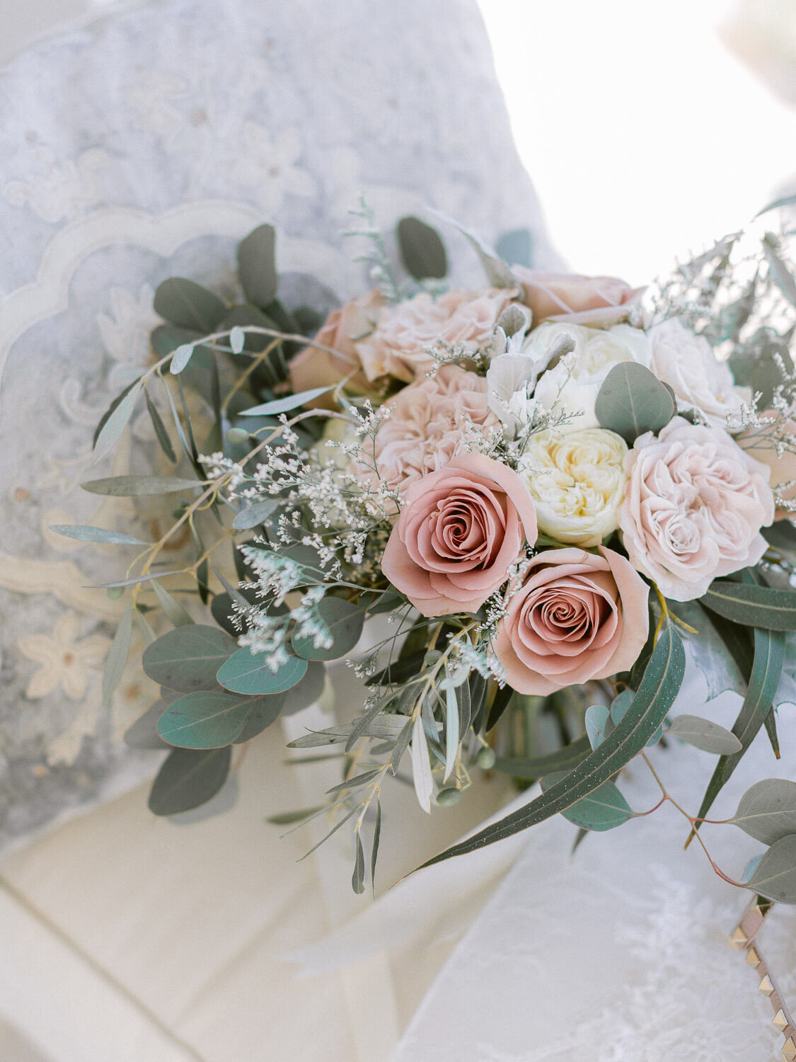 bridal bouquet in blush hues for a destination wedding in the Algarve by Portugal Wedding Photographer