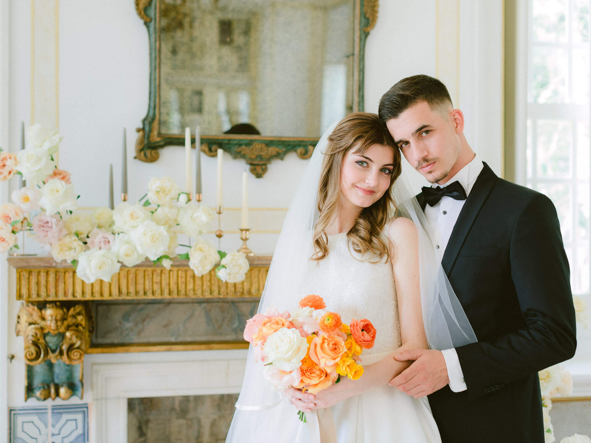 sweet couple posing romantically on their wedding day by Portugal Wedding Photographer