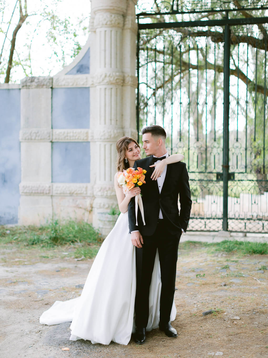 Bride and Groom romantic look by Portugal Wedding Photographer