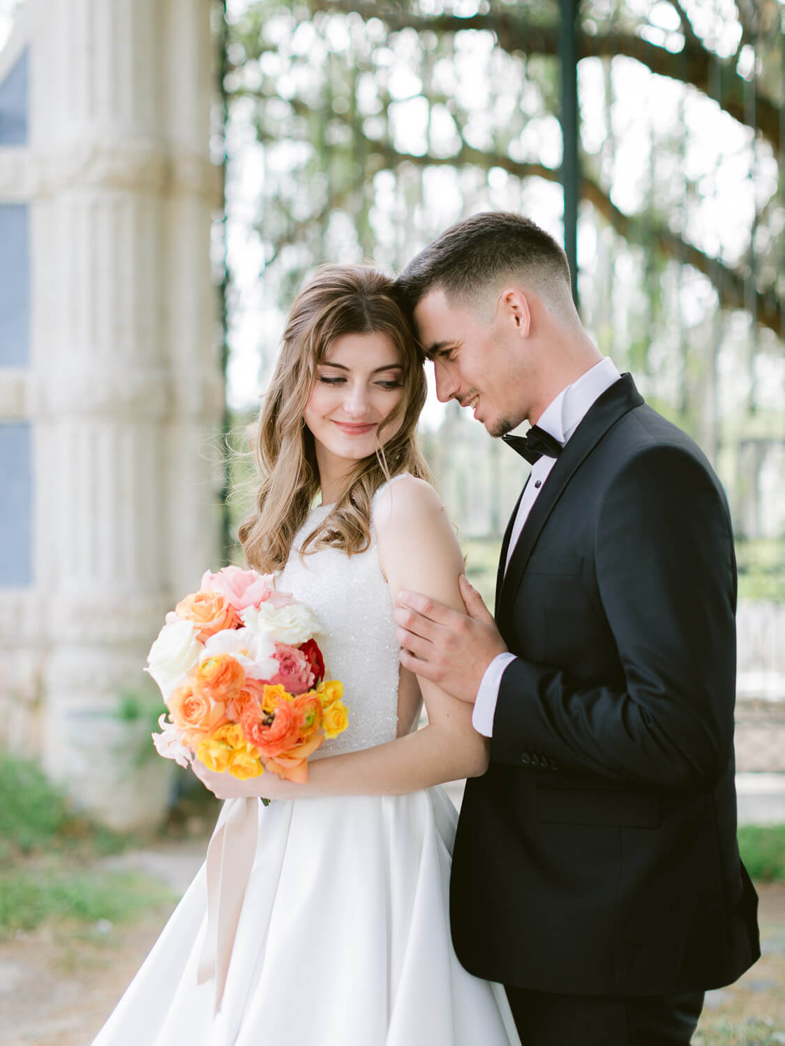 wedding couple sharing romantic look by Portugal Wedding Photographer
