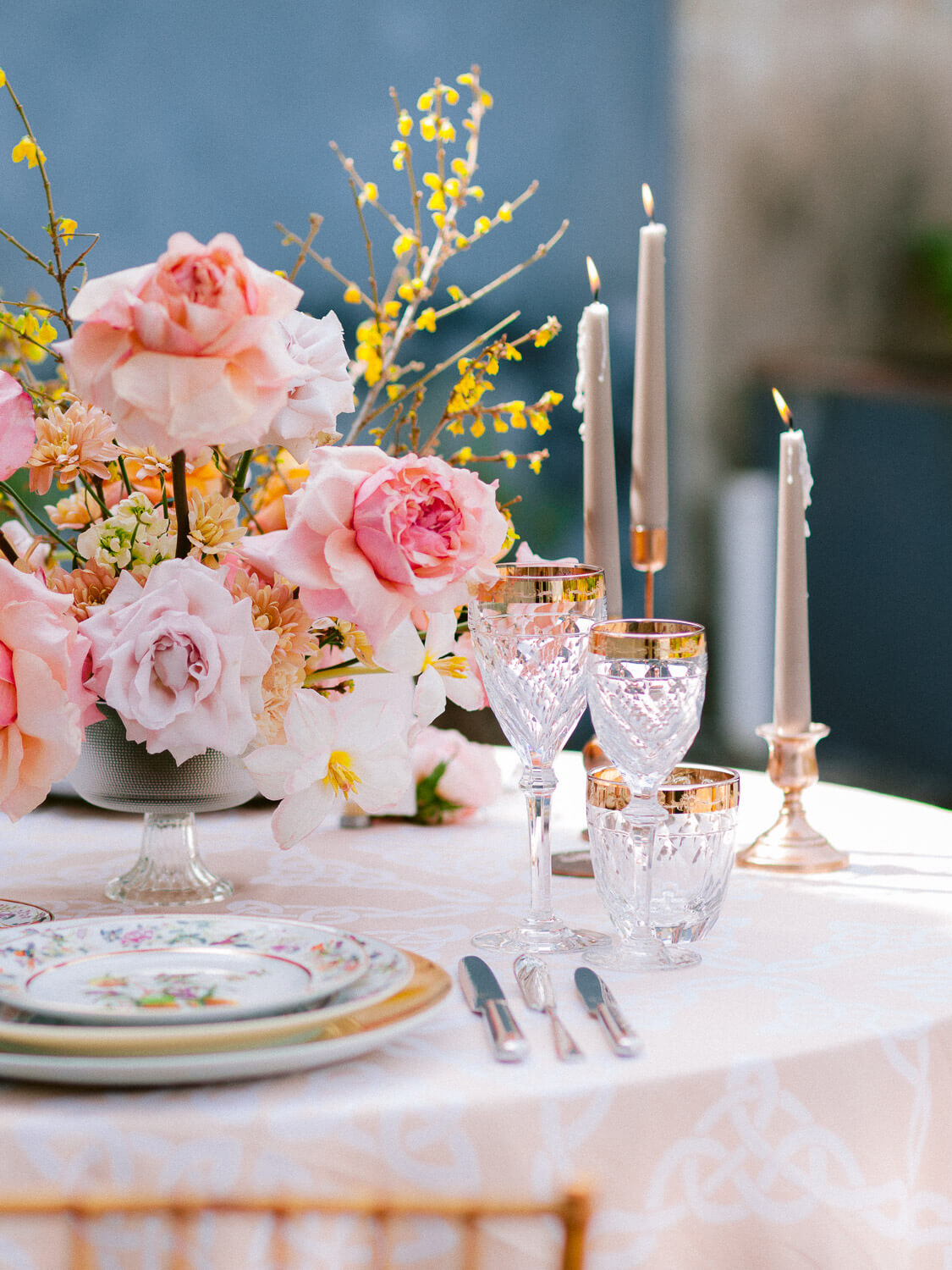 wedding reception table elegant, refined table setting by Portugal Wedding Photographer