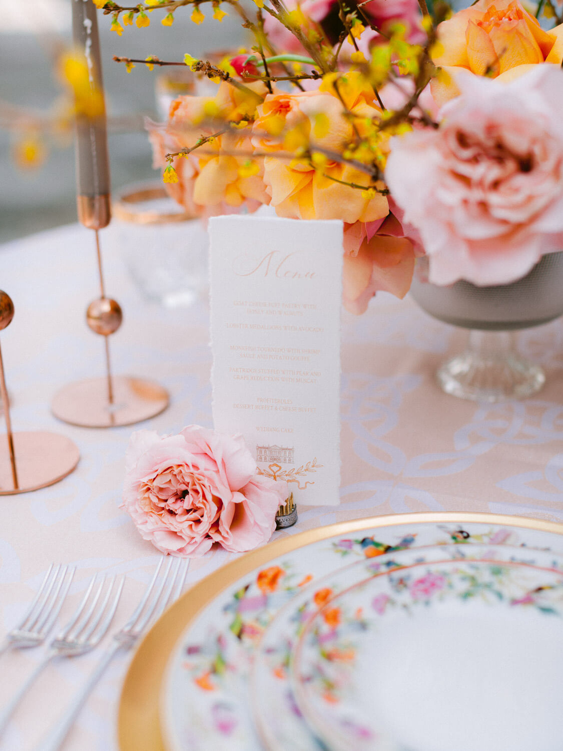 table setting detail on wedding reception table by Portugal Wedding Photographer