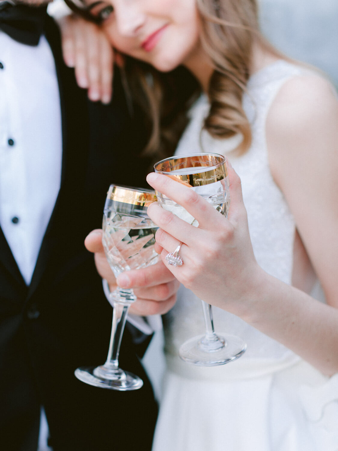 couple's wedding toast close-up on their destination wedding in Portugal by Portugal Wedding Photographer