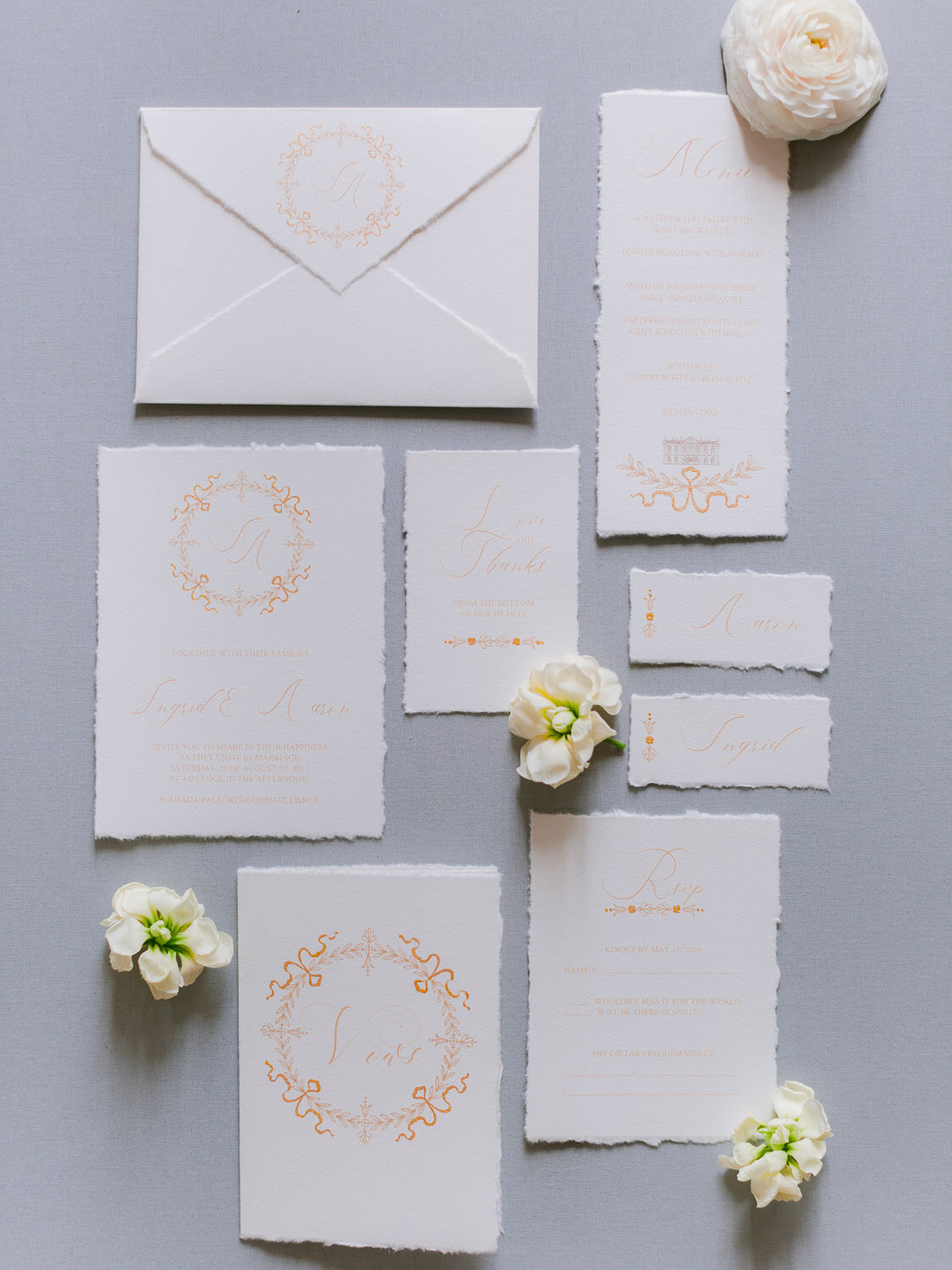 calligraphy wedding stationery styled and photographed by Portugal Wedding Photographer