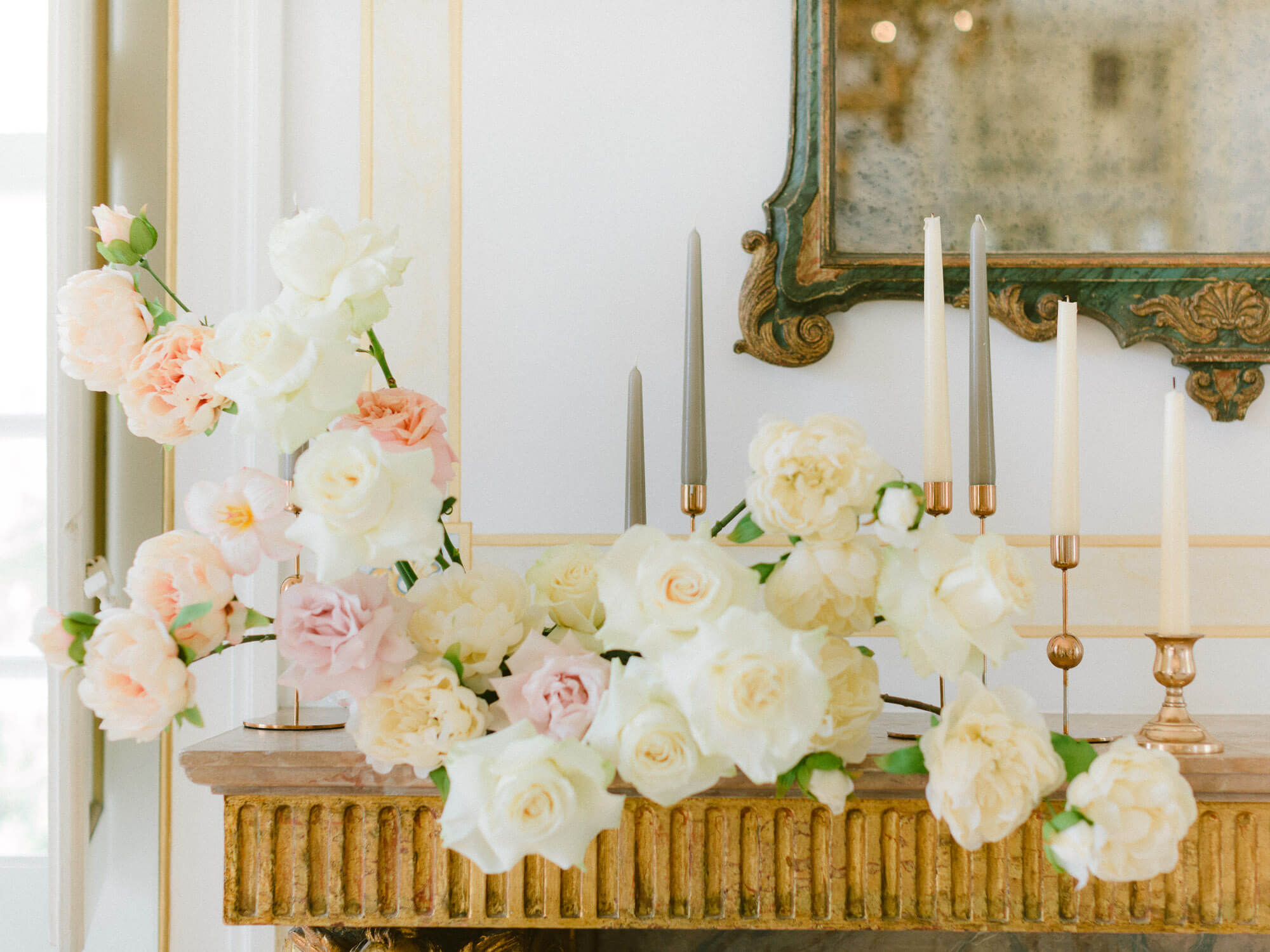 white and coral wedding floral centrepiece and candles photographed by Portugal Wedding Photographer at Palacio de Queluz
