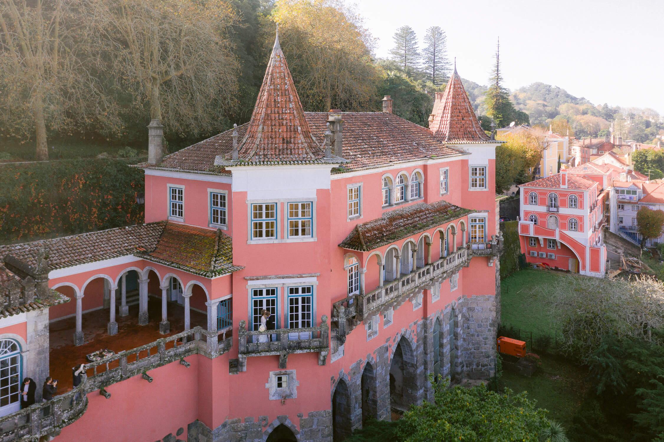Casa dos Penedos beautiful pink facade by Portugal Wedding Photographer