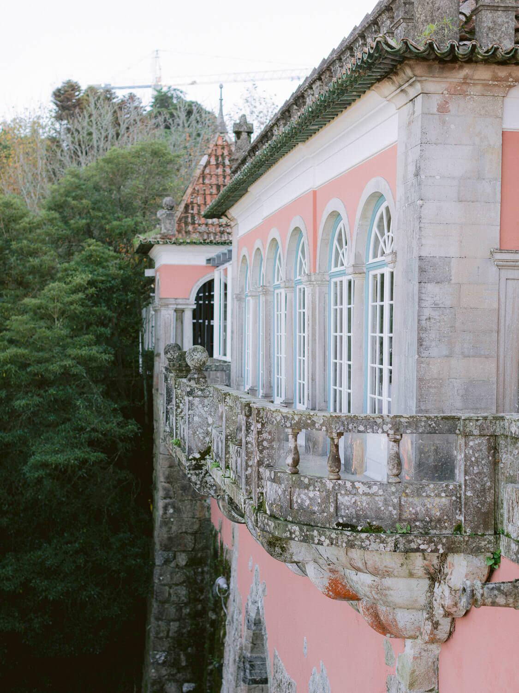 Casa dos Penedos Sintra stunning pink facade by Portugal Wedding Photographer