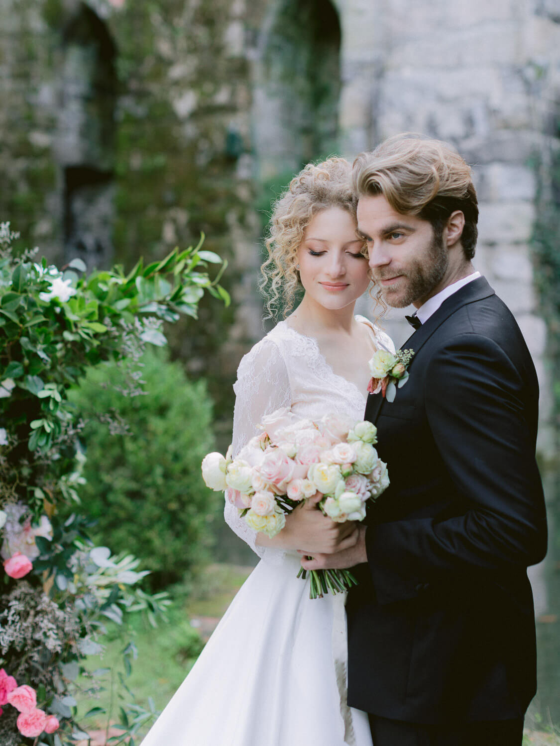 sweet and romantic wedding couple portrait by Portugal Wedding Photographer