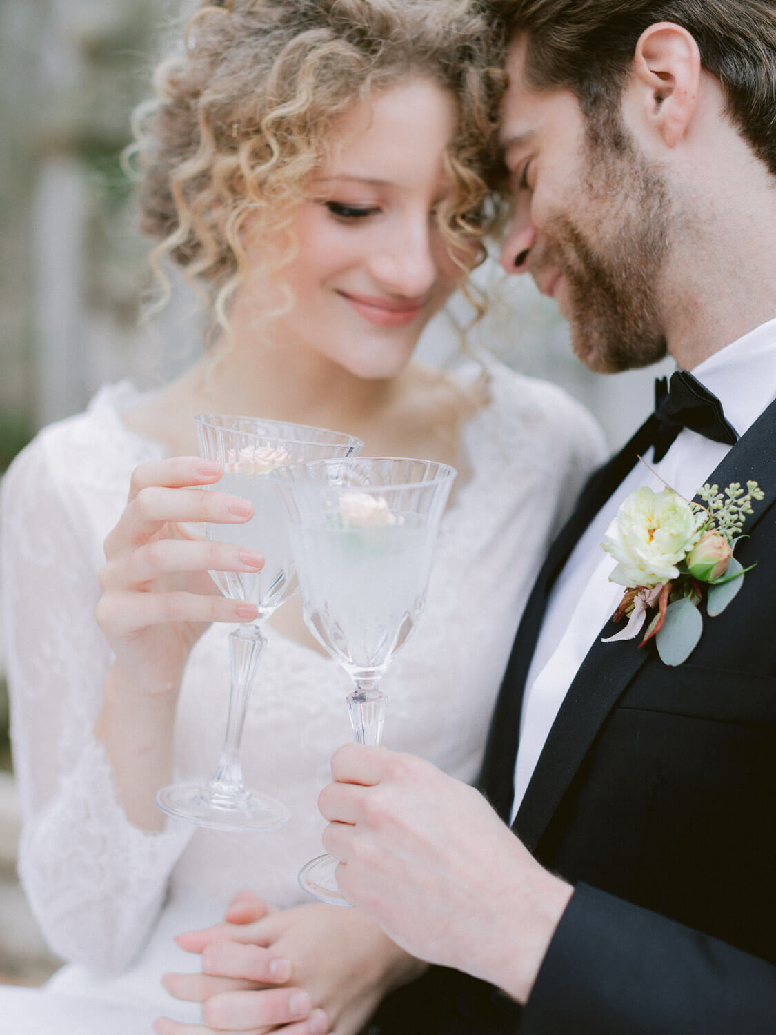 bride and groom's wedding toast close up by Portugal Wedding Photographer in Casa dos Penedos Sintra
