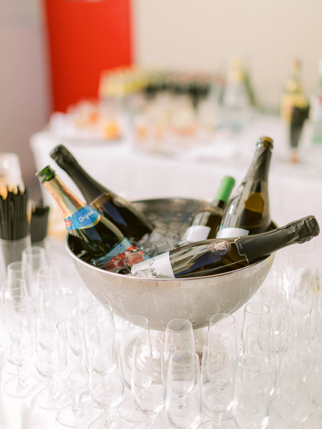 drinks table close up at wedding reception by Portugal Wedding Photographer