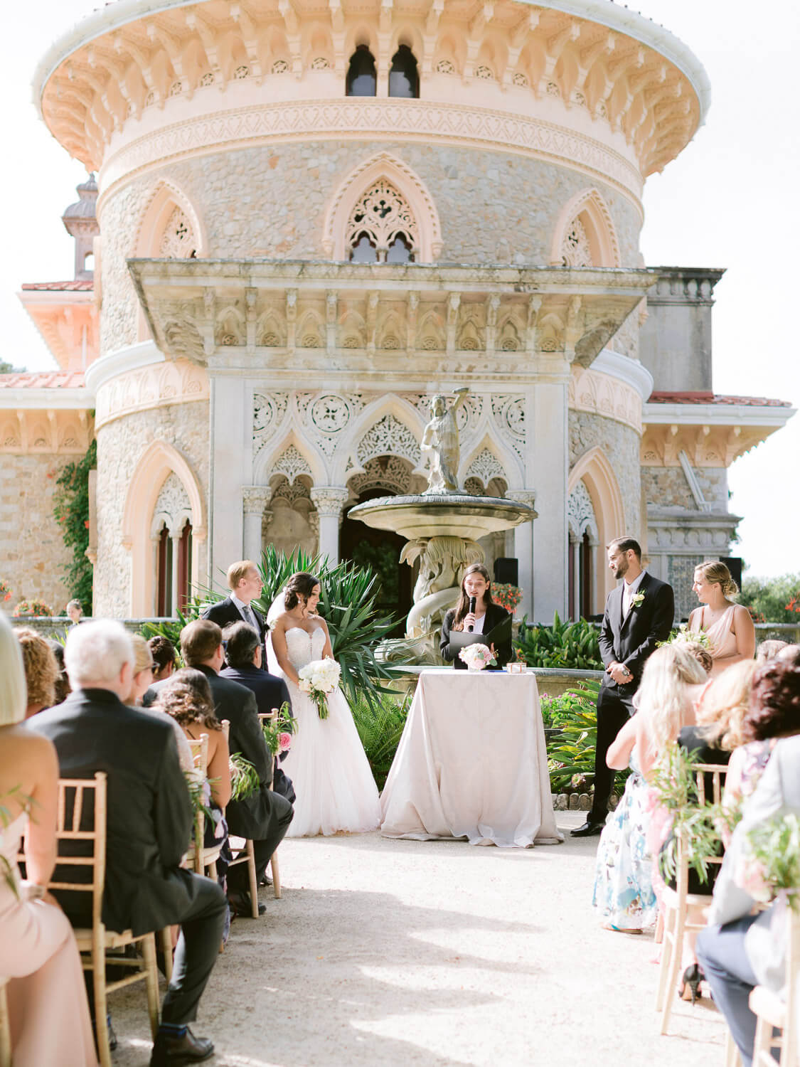 outdoor wedding ceremony in Monserrate Palace Sintra by Portugal Wedding Photographer