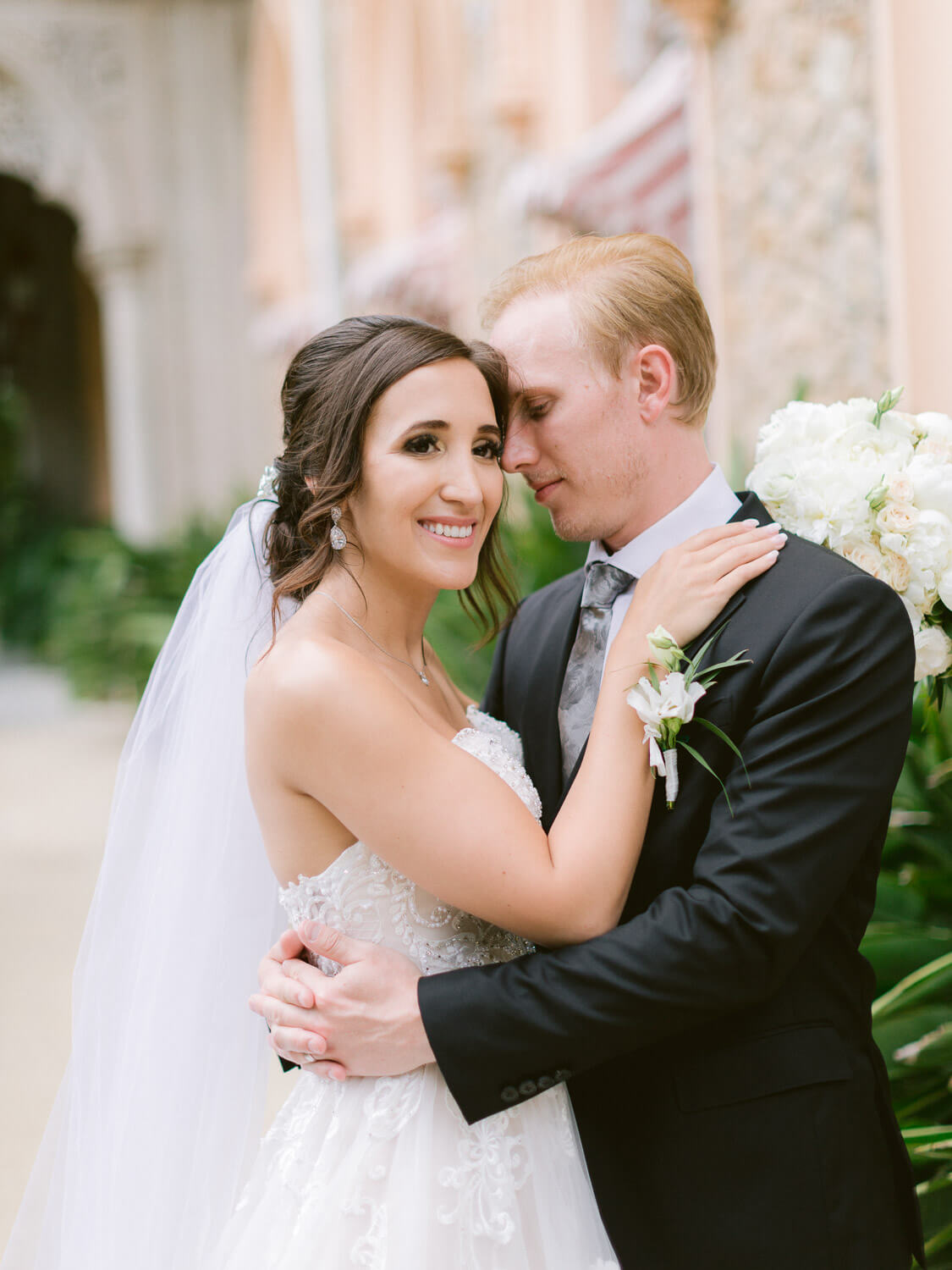 romantic wedding couple portrait in Monserrate Palace Sintra by Portugal Wedding Photographer