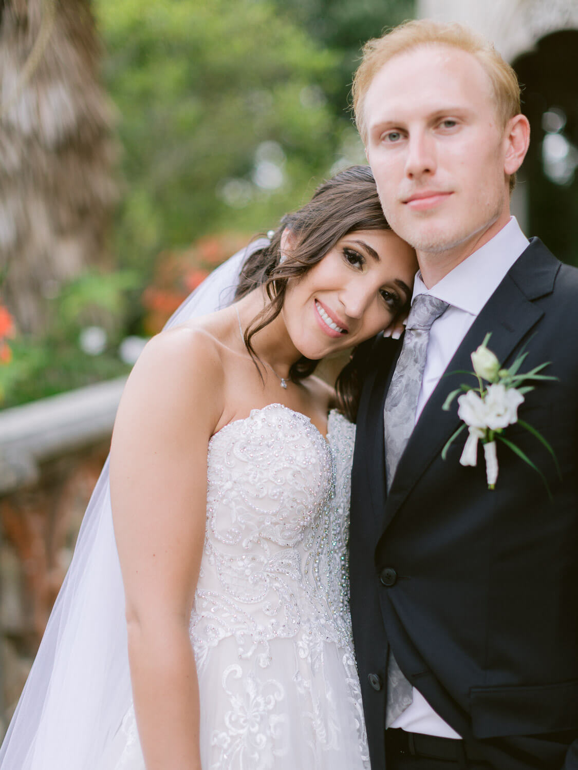endearing wedding couple portrait in Monserrate Palace Sintra by Portugal Wedding Photographer