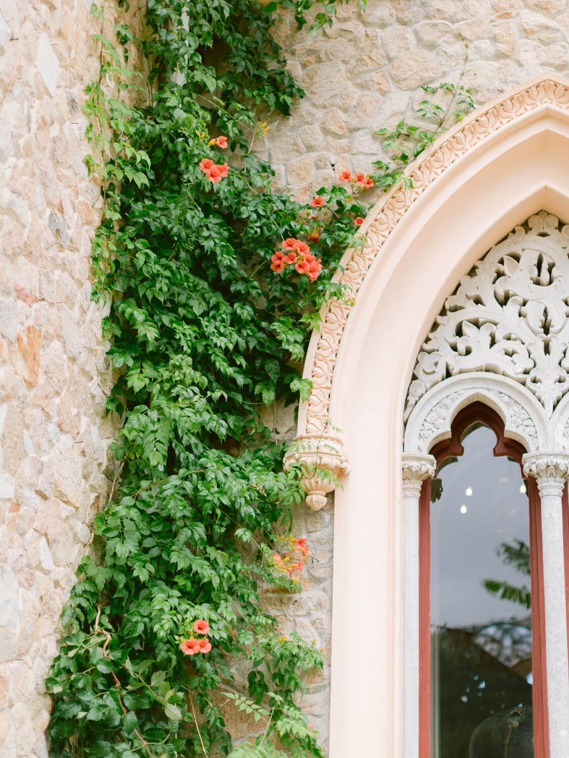 Monserrate Palace's Moorish influence window and facade detail by Portugal Wedding Photographer