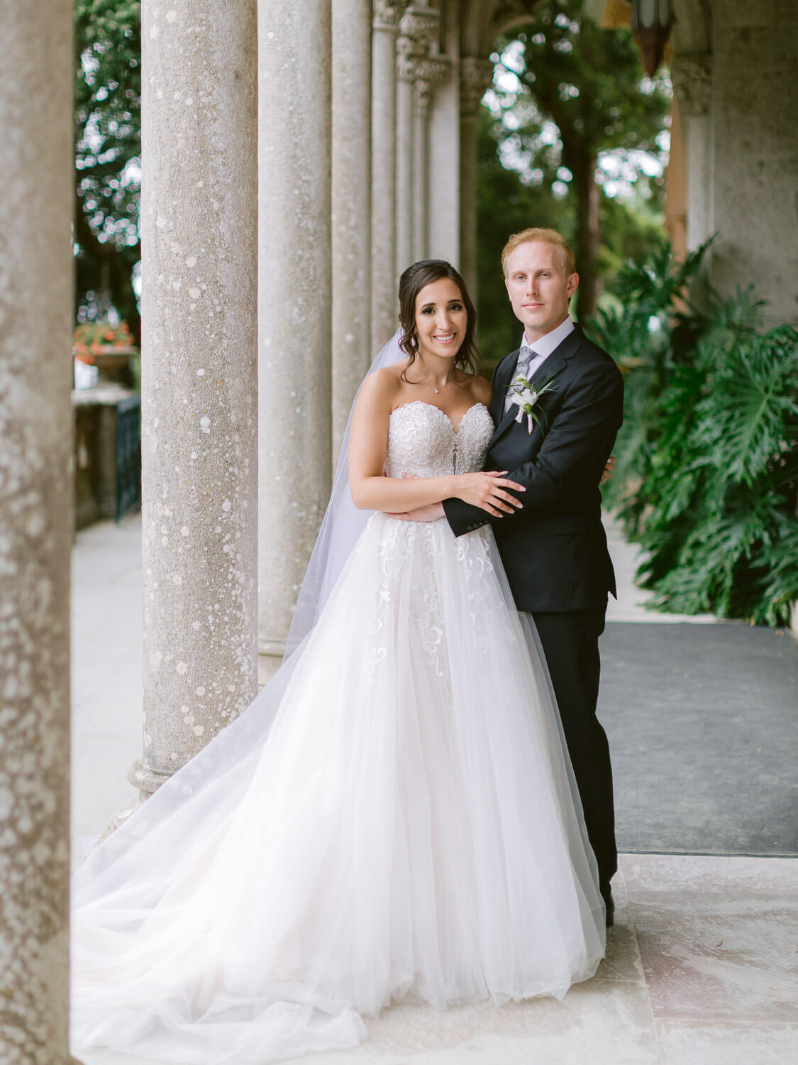 sweet newlyweds in Monserrate Palace Sintra Wedding by Portugal Wedding Photographer