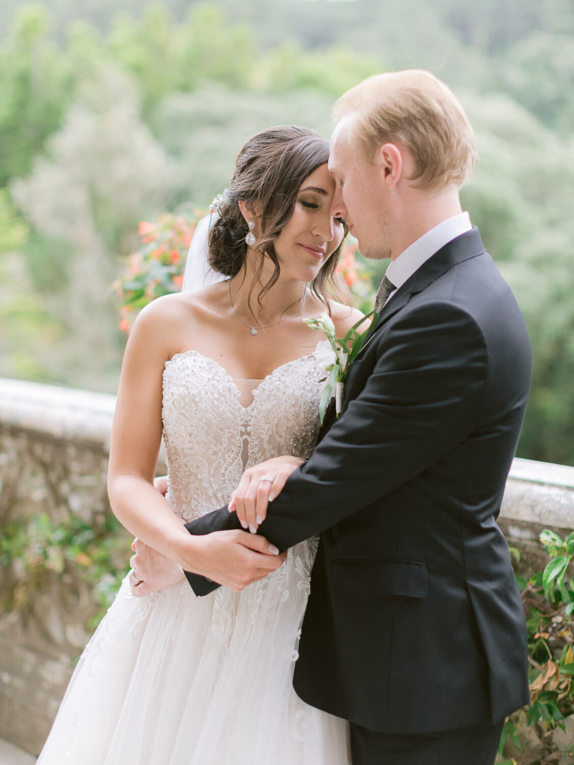 romantic couple after the wedding in Monserrate Palace Sintra gardens by Portugal Wedding Photographer