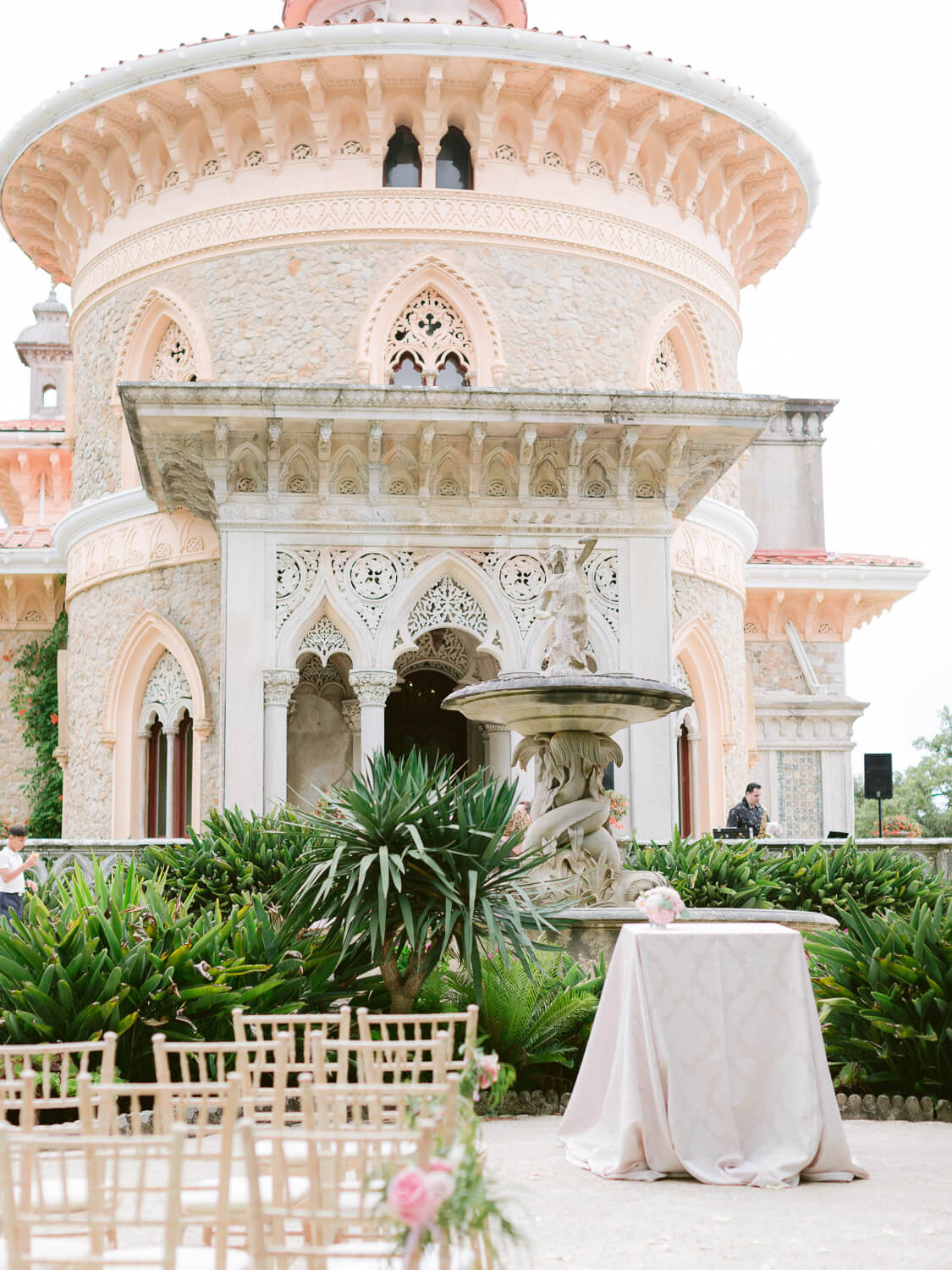 wedding ceremony set in front of Monserrate Palace's beautiful and unique facade by Portugal Wedding Photographer