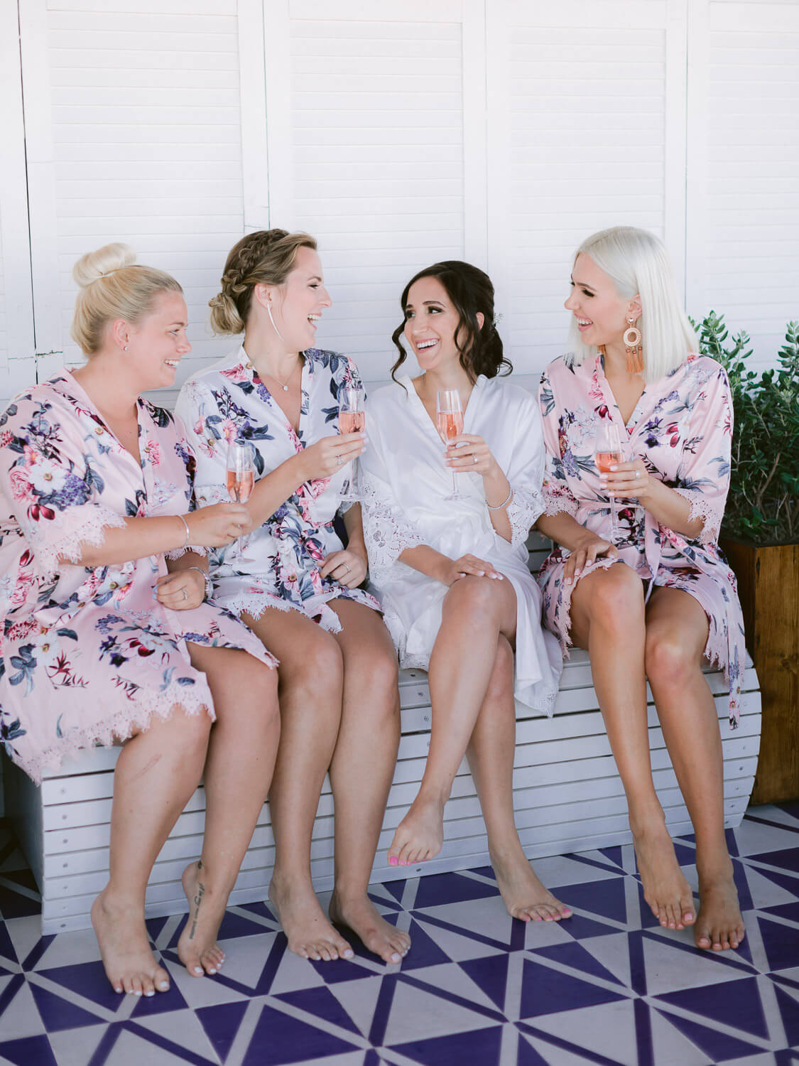 bride and bridesmaid pre wedding in Sintra toast by Portugal Wedding Photographer