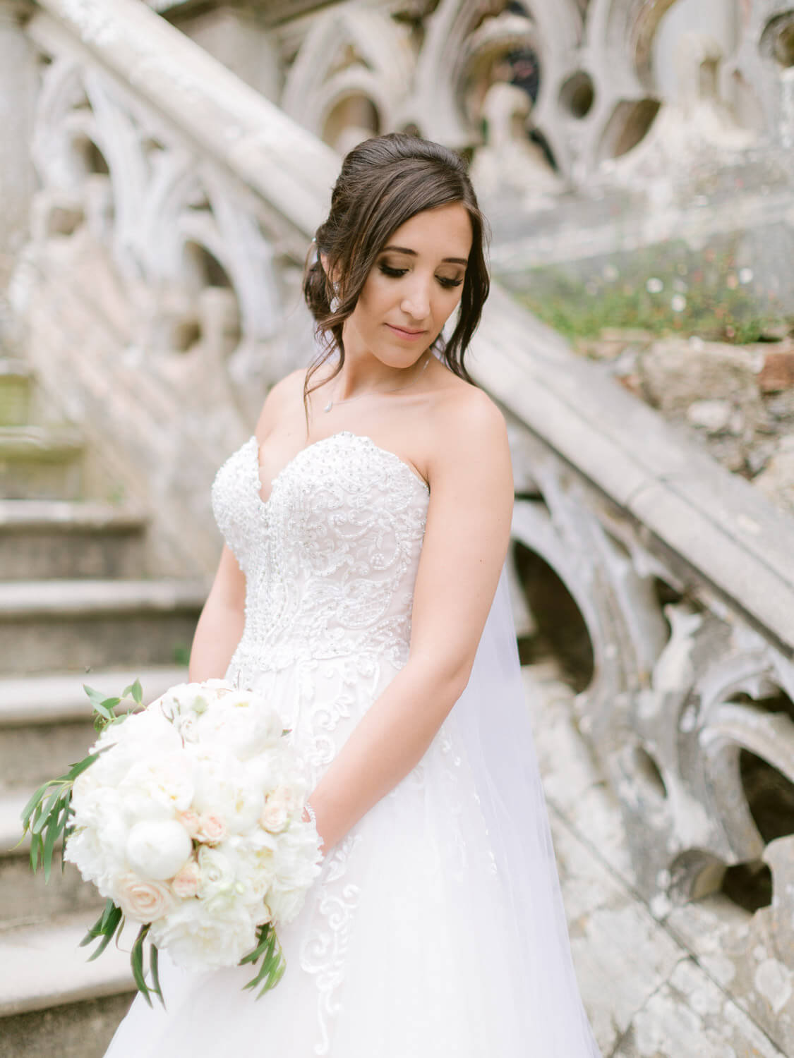 beautiful bride portrait at magnificent Sintra wedding venue by Portugal Wedding Photographer