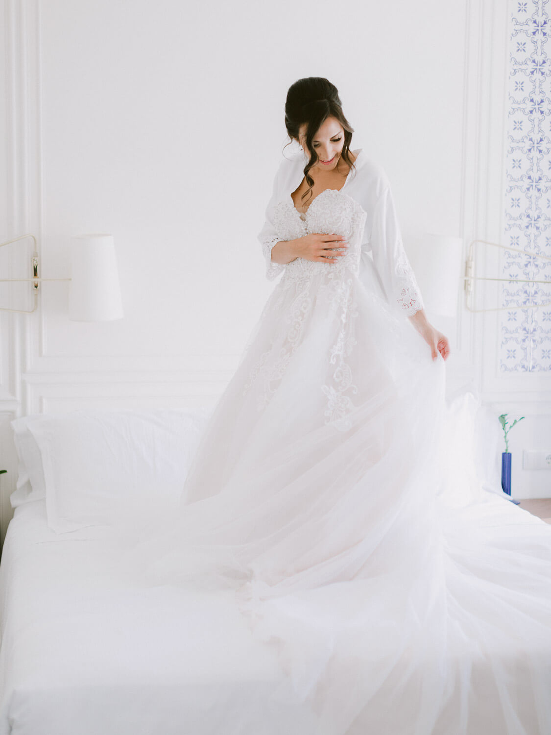 blissful bride staging with her bridal gown on a wedding in Sintra by Portugal Wedding Photographer