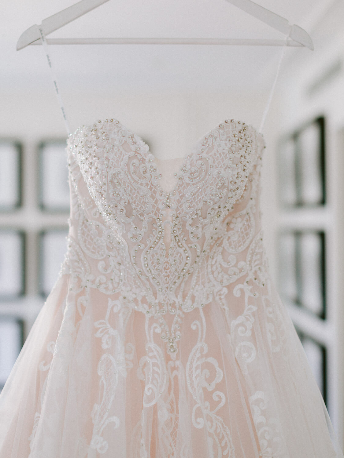 wedding gown ornamented bodice detail on a wedding in Sintra by Portugal Wedding Photographer