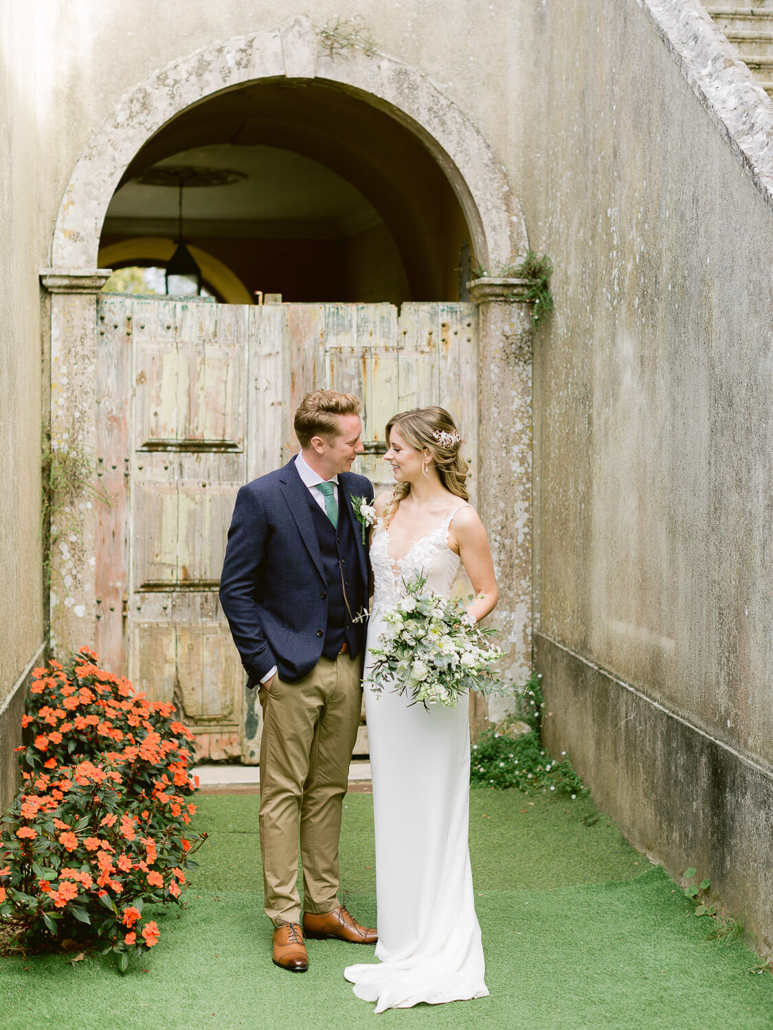 bride and groom romantic portrait in My Vintage Wedding Sintra by Portugal Wedding Photographer