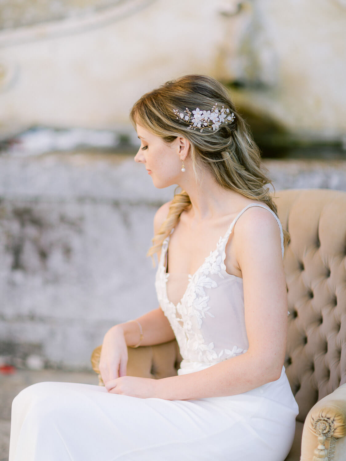 charming bride's profile portrait in My Vintage Wedding Sintra by Portugal Wedding Photographer