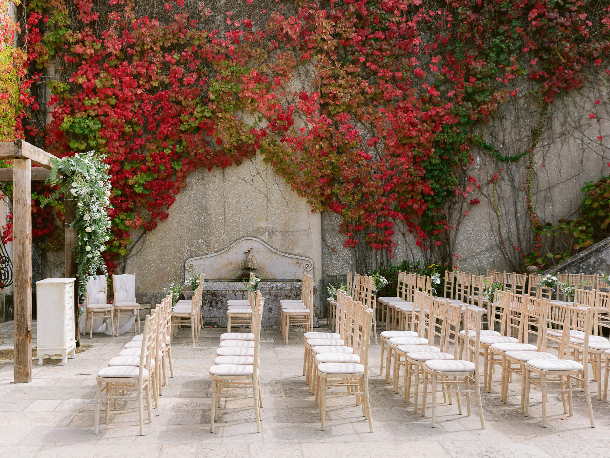 outdoor wedding ceremony setup in My Vintage Wedding Sintra by Portugal Wedding Photographer