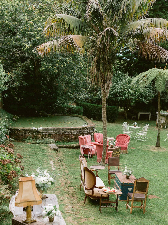 My Vintage Wedding in Sintra lounge garden set up by Portugal Wedding Photographer