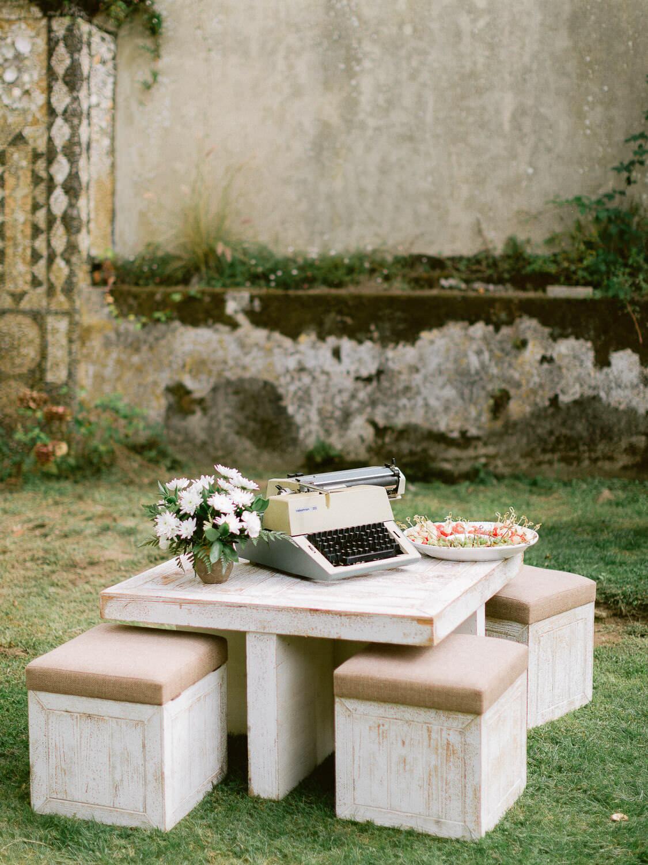 My Vintage Wedding in Sintra lounge garden set up detail by Portugal Wedding Photographer