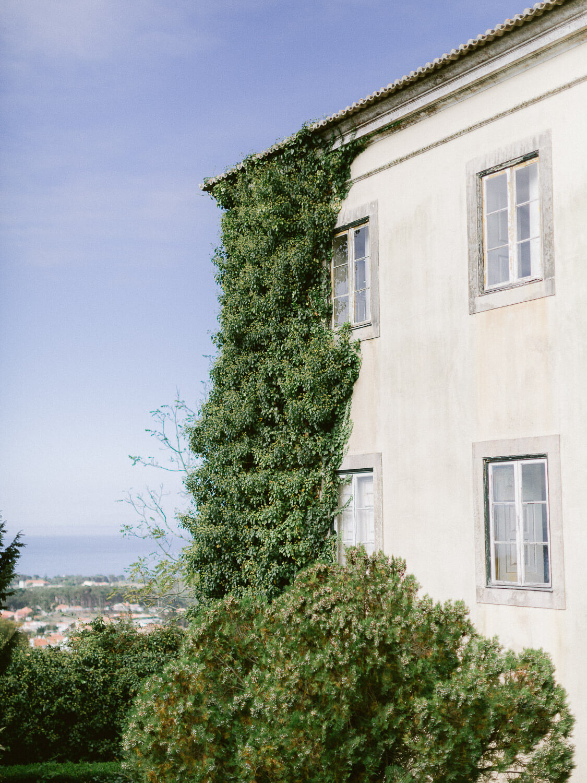 My Vintage Wedding Sintra wedding venue facade and ocean view by Portugal Wedding Photographer
