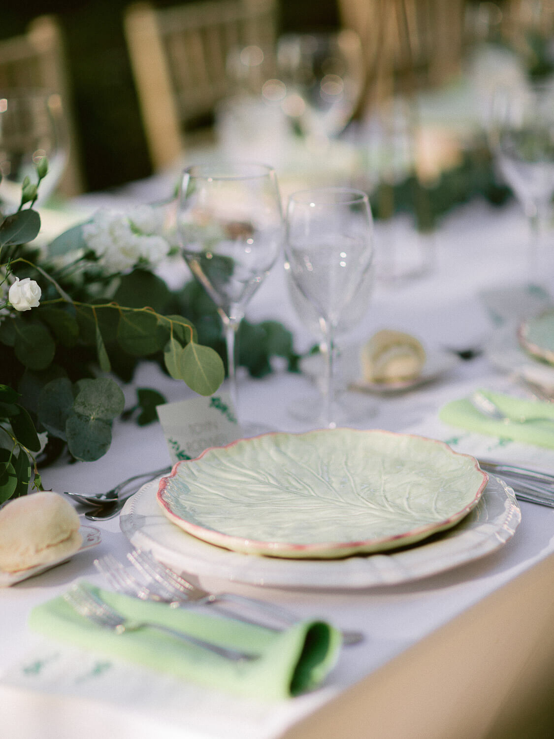 table set details for outdoor wedding reception dinner by Portugal Wedding Photographer