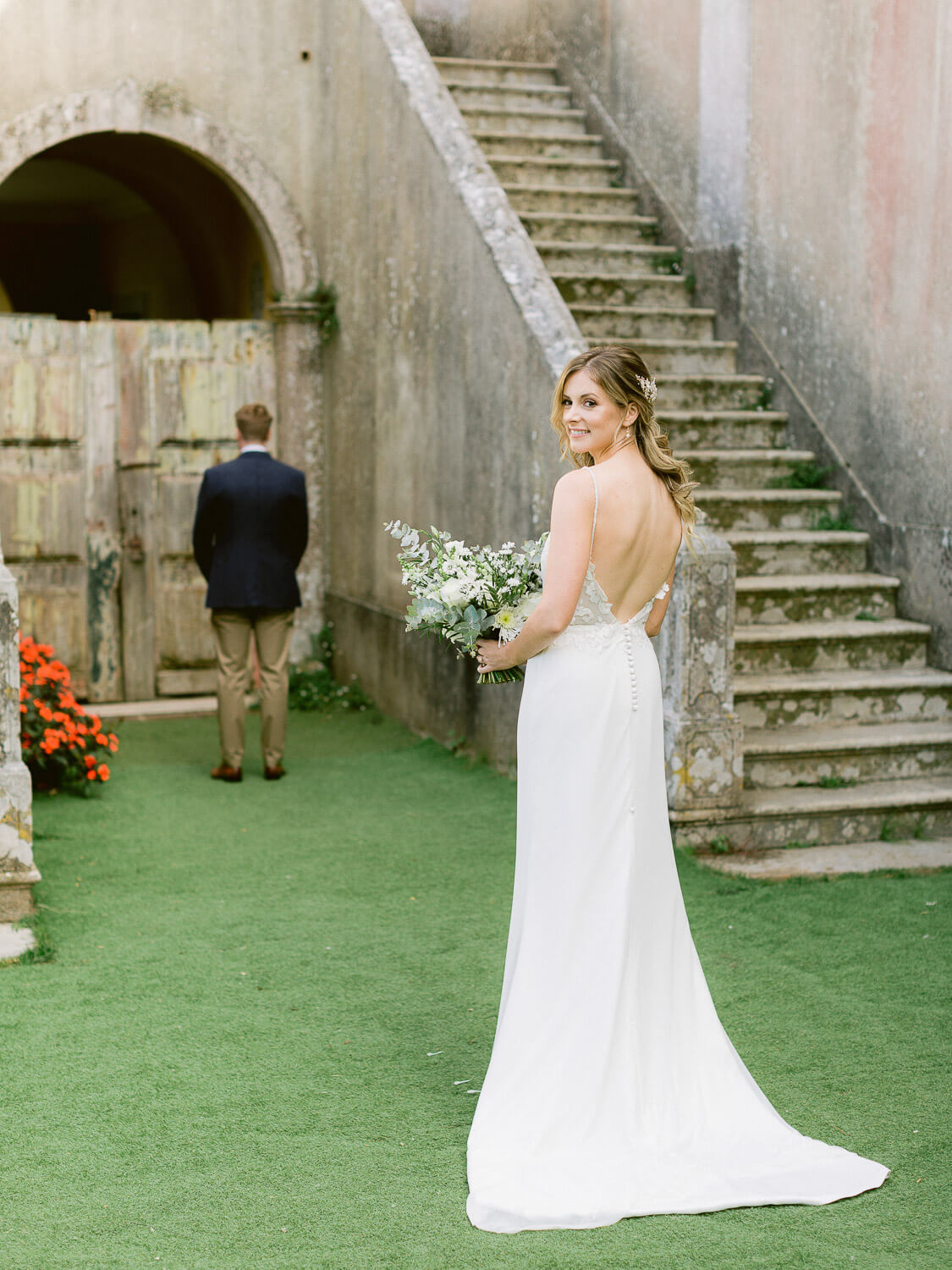 bride and groom first look in My Vintage Wedding Sintra by Portugal Wedding Photographer